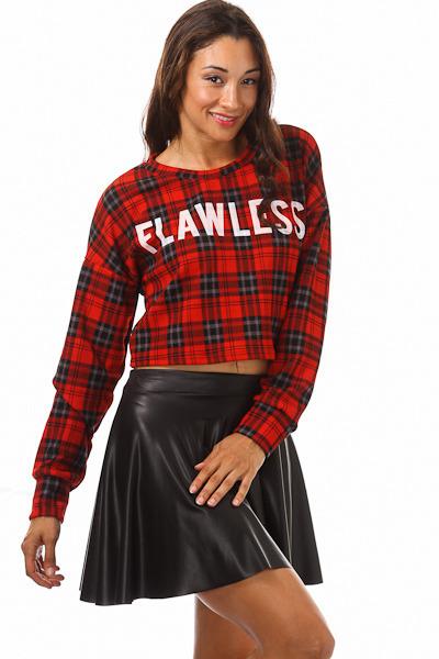 Flawless plaid crop sweatshirt top