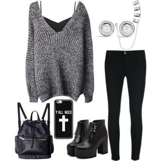 sweater gray long shoes tank top leggings