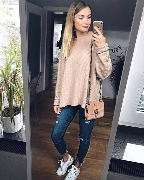 sweater beige sweater shoes white shoes