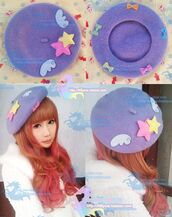 hat,harajuku,japan,beret,kawaii,fairy kei,decora kei
