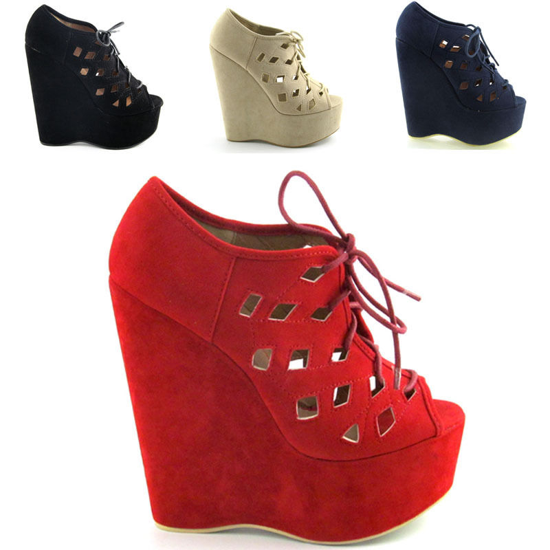 Ladies Suede Peep Toe Womens Cut Out Lace Up High Heel Platform Wedge Size 3 8 | eBay