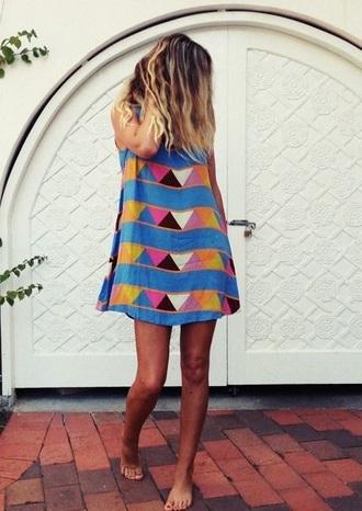 dress bright short summer shift dress triangle pattern blue colorful holidays beach