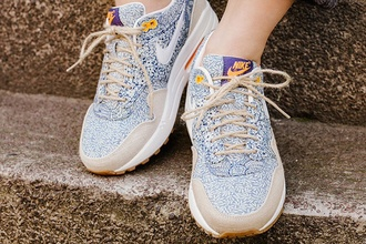 shoes sneakers nike sneakers air max blue blue floral nike x liberty brown color floral floral print shoes white white sneakers brown laces beige nike air max airmax one bleu liberty liberty london london