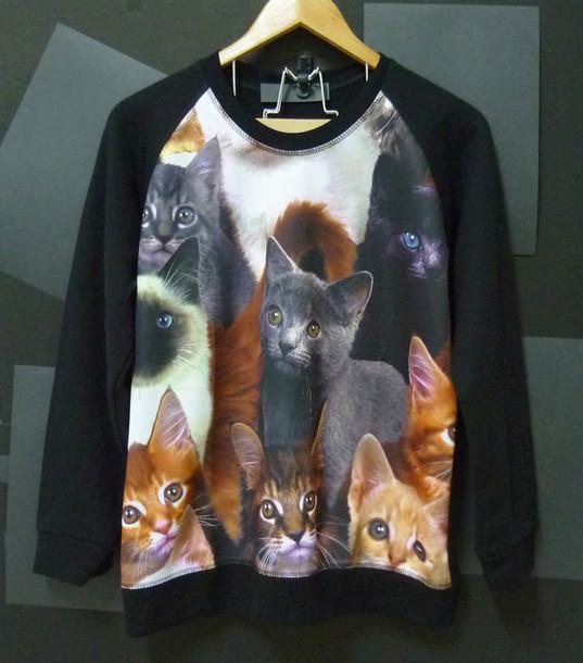 sweater cat shirt kitten sweater animal sweaters winter shirts cats