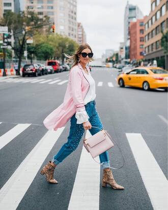 shoes tumblr boots ankle boots denim jeans blue jeans embellished embellished denim bag pink bag coat pink coat top white top