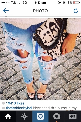 shoes high heels leopard print boyfriend jeans knitted cardigan ripped jeans clutch jeans