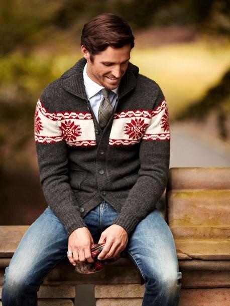 Sweater Cardigan Christmas Menswear Sweatshirt Button Up Brown