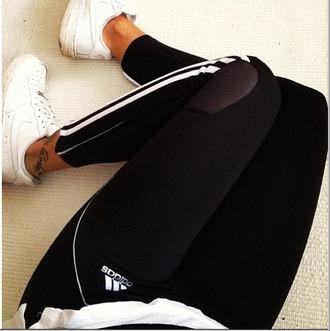 pants running black and white leggings workout workout leggings adidas