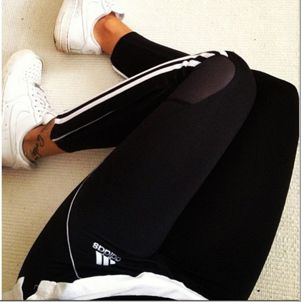 Adidas 3 Stripe Tights Running Fitness Gym Jogging