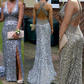 dress,diamante dress,silver sequins,prom dress,sequin dress,long dress,crossed back,cross back,slit,silver dress,halter dress,diamonds