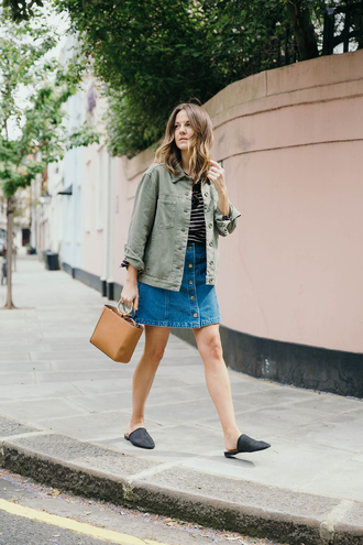 it'stimetowrapup blogger skirt jacket shoes button up denim skirt army green jacket loafers handbag striped top spring outfits