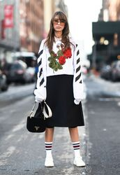top,tumblr,sweatshirt,nyfw 2017,fashion week 2017,fashion week,streetstyle,embroidered,printed sweater,floral,skirt,midi skirt,black skirt,sneakers,white sneakers,socks,bag,black bag,sunglasses