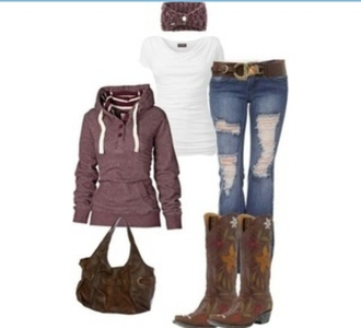 brown belt sweater ripped jeans brown purse brown boots cowboy boots maroon hoodie maroon hoodie