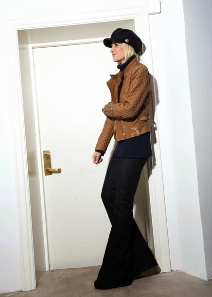 hippie hippie milkshake blogger leather jacket fisherman cap wide-leg pants
