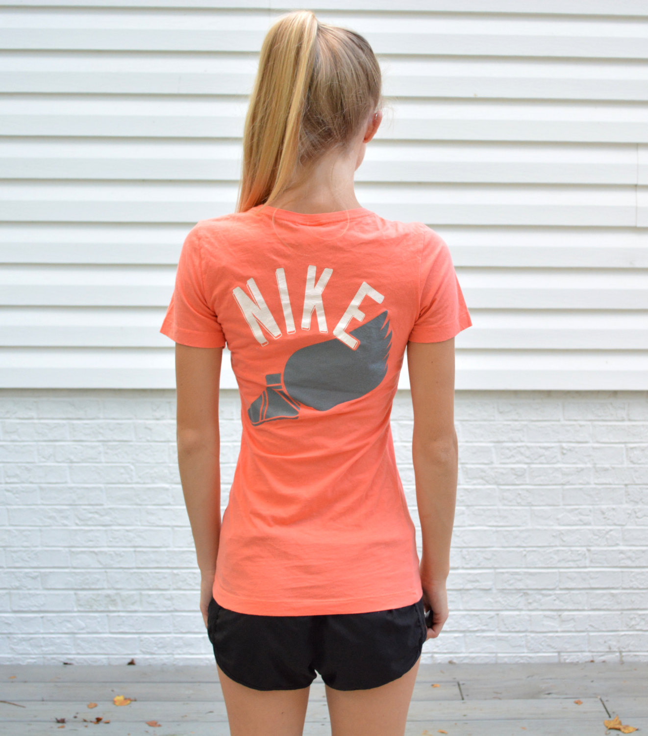 Vintage nike shirt womens xs vintage nike blue label track and field tight fit tee coral nike t