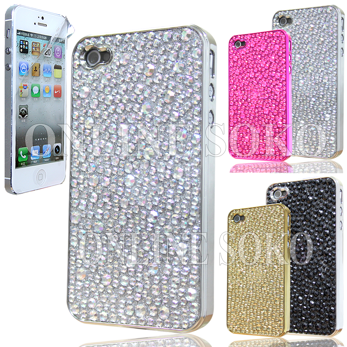 FOR APPLE iPHONE 5 CRYSTAL DIAMOND BLING CASE RHINESTONE DIAMANTE HARD COVER | eBay