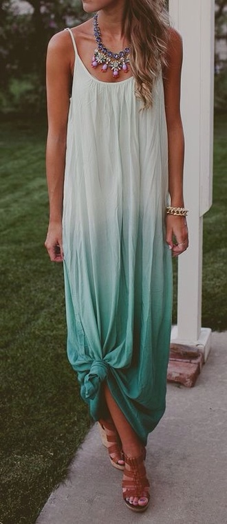 dress white and teal ombré ombré blue maxi dress ombre dress cute dress maxi dress maxi tie dye blue dress summer dress ombre knot long
