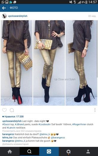 pants gold sequins shiney