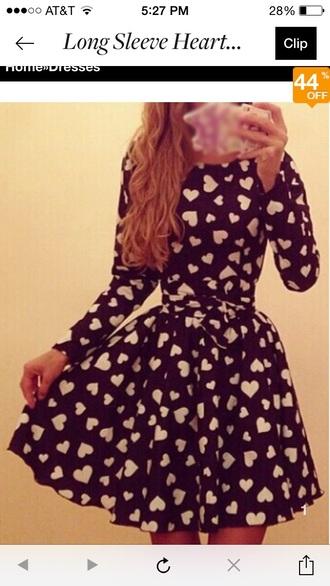dress long sleeves black heart tie belt valentine's dress heart dress tie-belt a-line dresses sweetheart dresses