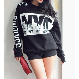 sweater swag dope black sweater winter sweater winter swag new york city oversized sweater rose wholesale hipster