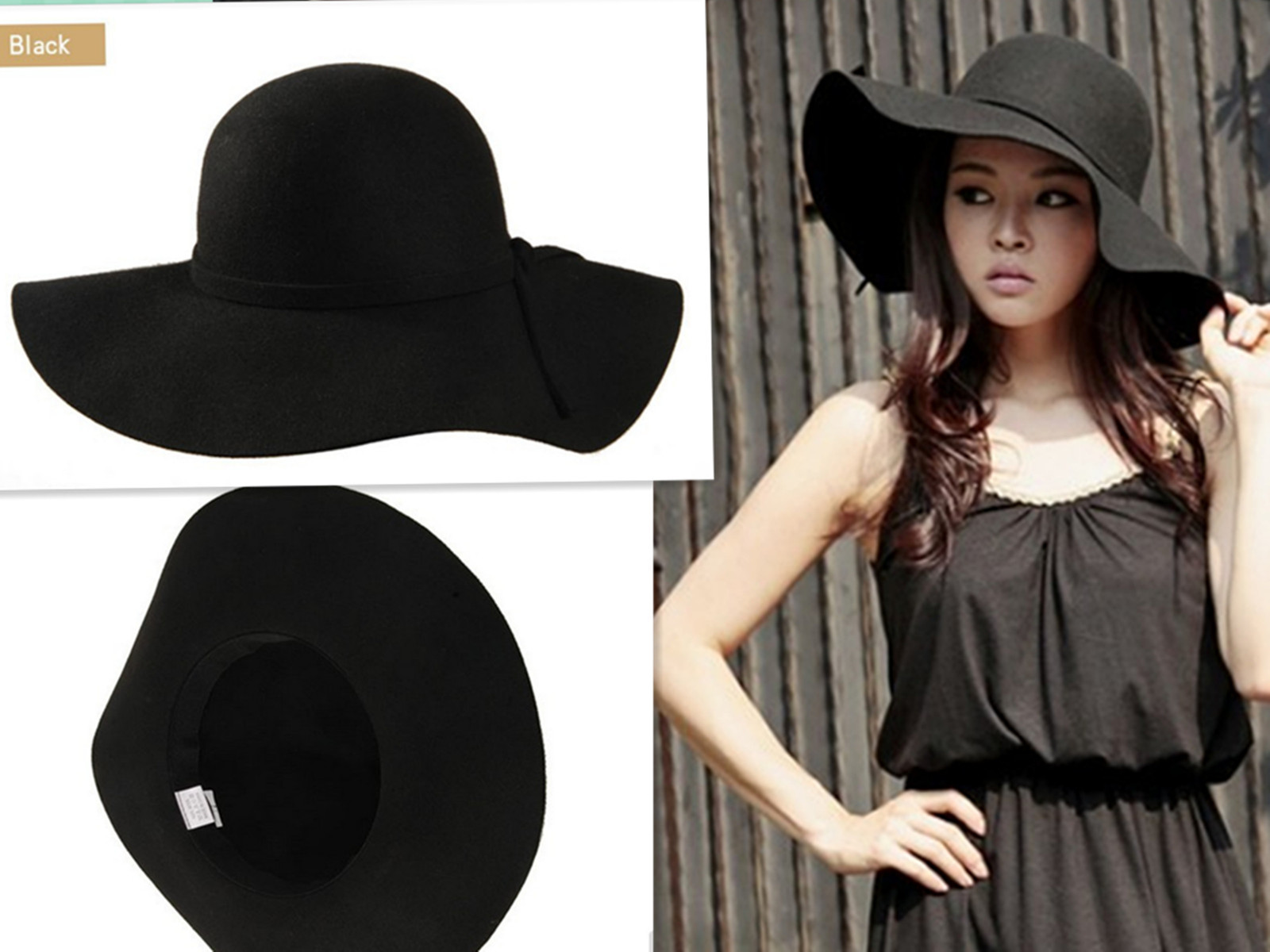c0c3fd87c8c Hot Vintage Lady Women Wide Brim Bowler Fedora Wool Felt Hat ...