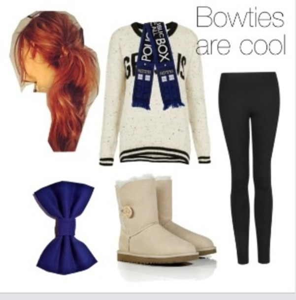 scarf sweater leggings blue jewels ugg boots bows