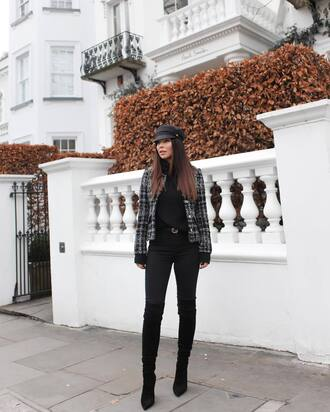 jacket tumblr grey jacket tartan printed jacket top black top denim jeans black jeans boots black boots over the knee boots thigh high boots pointed boots hat black hat fisherman cap