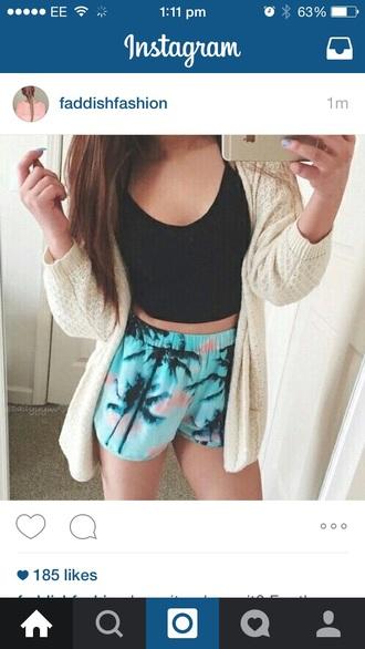 blouse summer shorts palm tree cardigan black