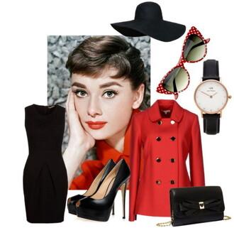 top hat jacket high heels little black dress bag watch audrey hepburn