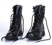 shoes,black boots,military style,leather,ebay,combat boots,black combat boots