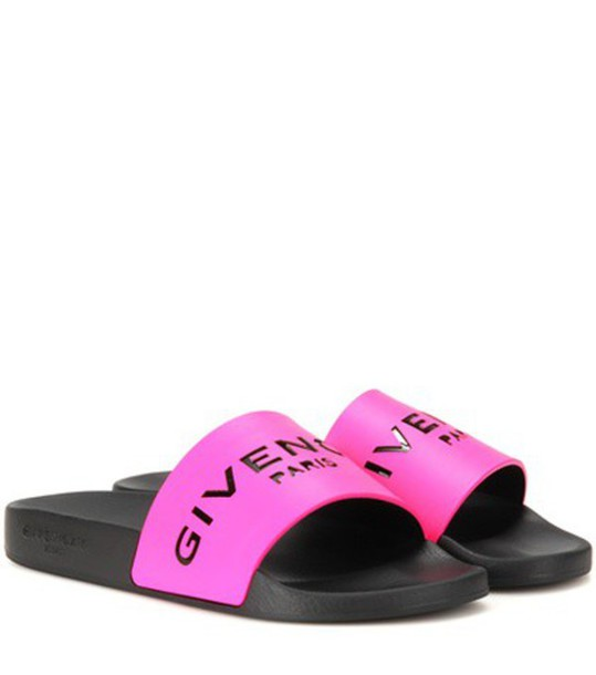 Givenchy Slide Leather And Rubber Sandals in pink