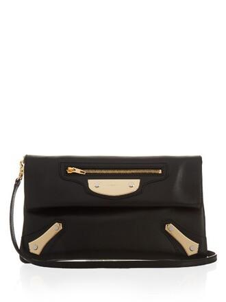 leather clutch metal clutch leather black bag