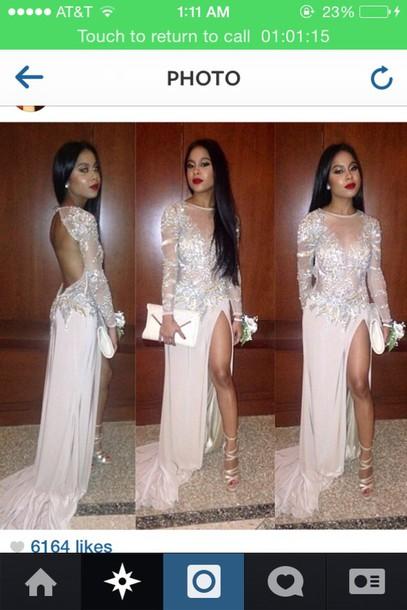dress long dress white dress open back prom dress sparkly dress prom dress long sleeve dress see through dress diamonds
