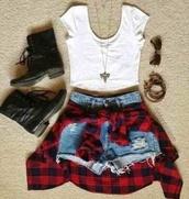 t-shirt,flannel shirt,shoes,shorts,jacket