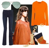 by funda,blogger,sunglasses,jeans,sweater,70s style,wide-leg pants,rust,jewels