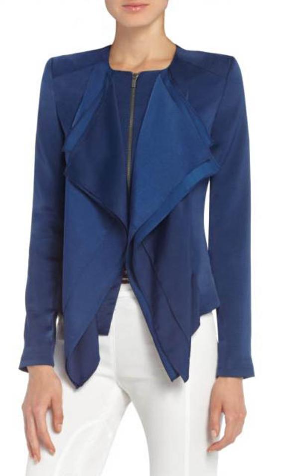 jacket bcbg flora ruffle-front jacket