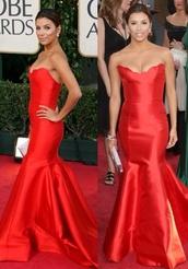 dress,red,long dress,red dress,red prom dress,mermaid prom dress,eva longoria