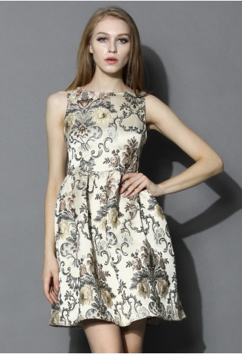 My Fair Lady Baroque Embroidery Dress in Champagne - Retro, Indie and Unique Fashion