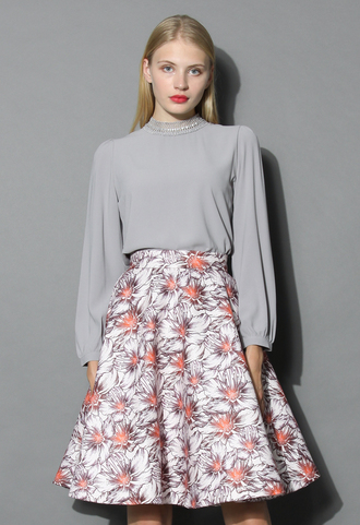 skirt floral sketches a-line skirt in red floral a-line skirt red