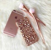 phone cover,rose gold,pink,all pink wishlist,studded case,make-up,cute,metal,iphone 6 case,metallic,iphone case,iphone 6 plus,iphone 6 plus cases,iphone,cover,studded,black,iphone 5 case,iphone cover,studded iphone cover,tumblr cover,weheartit cover,pink iphone case