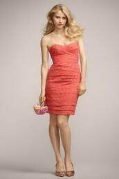 dress,short/mini watermelon bridesmaid dress,bridesmaid