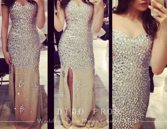 Custom made beaded prom dresseschampagne prom by didopromcustom