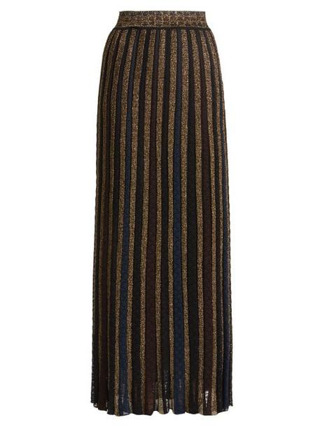 Missoni - Metallic Striped Knitted Skirt - Womens - Black Gold