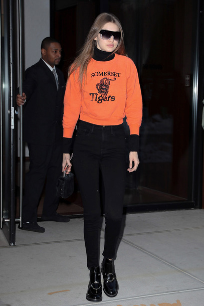 jeans sweater orange gigi hadid streetstyle