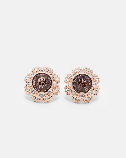 daisy earrings stud earrings lace pink jewels