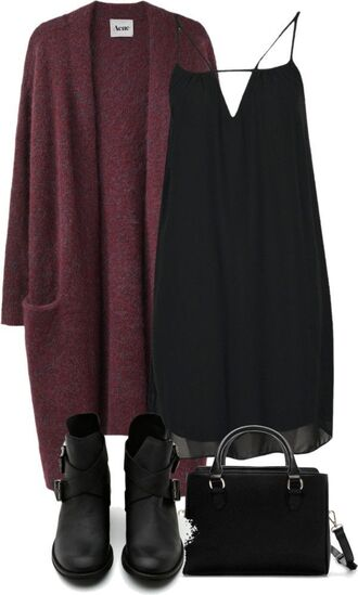 cardigan long grunge burgundy sweater pockets dress bag shoes