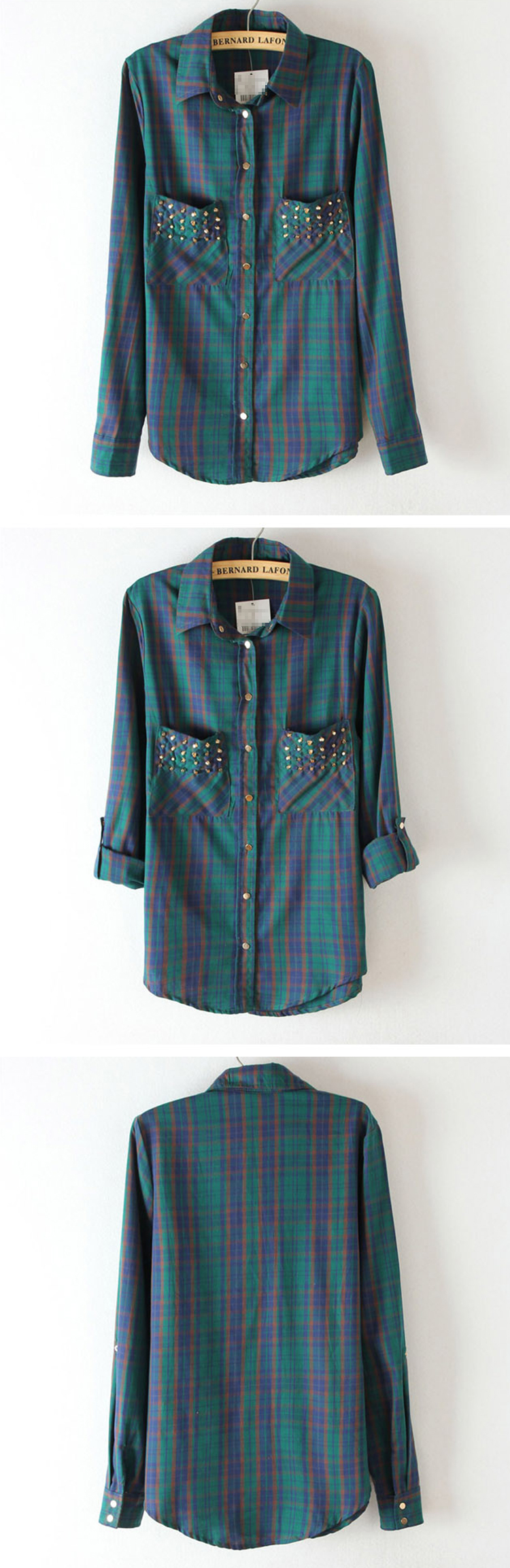 Inlaid Metal Rivets Pocket Plaid Shirt$49