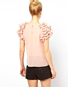 ASOS Petite | ASOS PETITE Exclusive Top with 3D floral sleeves at ASOS