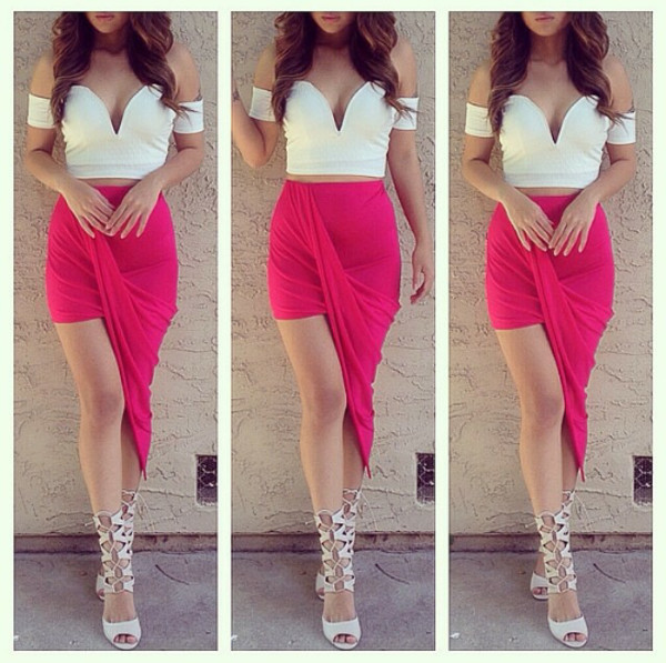 skirt shirt shoes hot pink pink summer outfits blouse