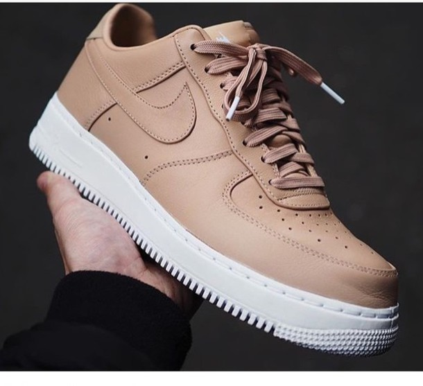best sneakers 4b3d7 84e8f shoes beige nike nike air force 1